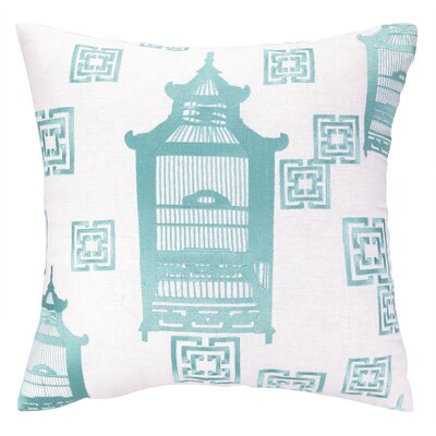 Birdcage Embroidered Linen Throw Pillow