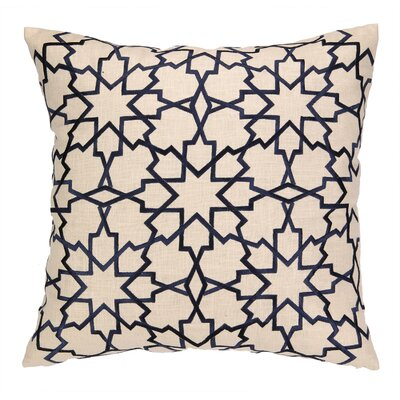 Moroccan Star Embroidered Linen Throw Pillow Color: Navy