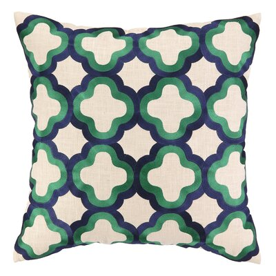 Quaterfoil Embroidered Linen Throw Pillow Color: Navy & Emerald