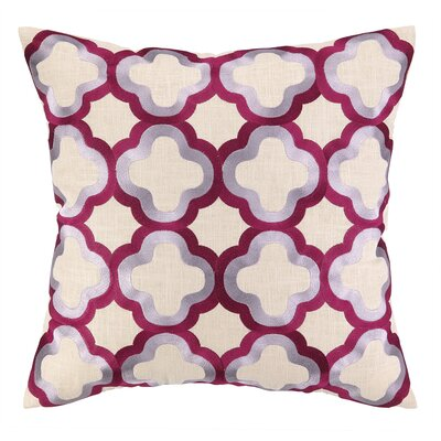 Quaterfoil Embroidered Linen Throw Pillow Color: Magenta & Lilac