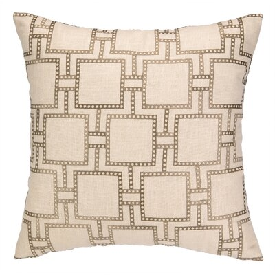 Dotted Line Embroidered Linen Throw Pillow Color: Beige