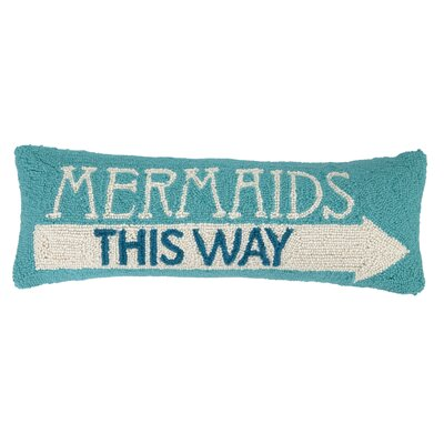 Mermaids This Way Hook Wool Lumbar Pillow