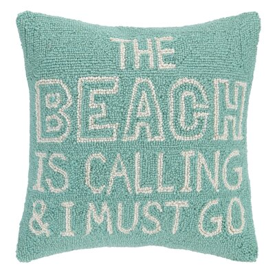 Beach Calling Hook Wool Throw Pillow