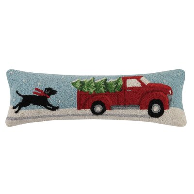 Black Lab Christmas Cotton Lumbar Pillow