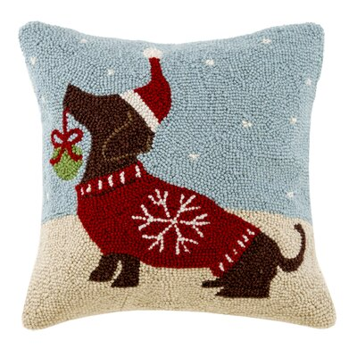 Holiday Dog Hook Cotton Throw Pillow
