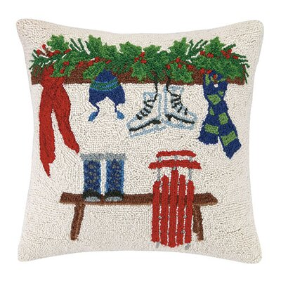 Melody Holiday Christmas Skiing Gear Wool Throw Pillow