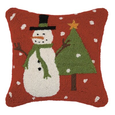 Holiday Rustic Snowman Wool Throw Pillow