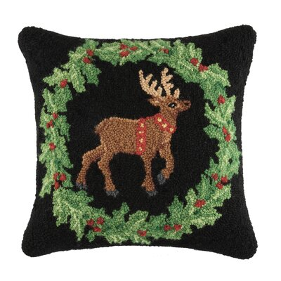 Holiday Fancy Reindeer Wool Throw Pillow