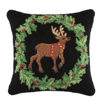 Holiday Fancy Reindeer Wool Throw Pillow