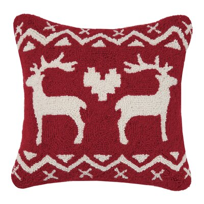 Fair Isle Reindeer Wool Throw Pillow