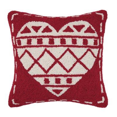 Fair Isle Heart Wool Throw Pillow