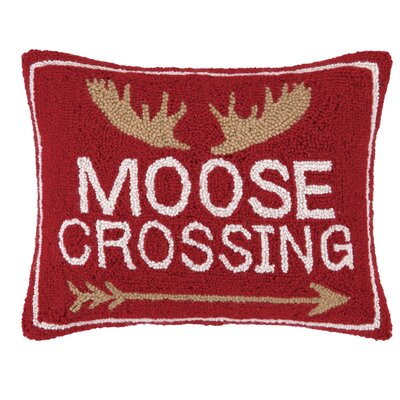 Holiday Moose Crossing Wool Lumbar Pillow