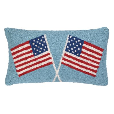 Usa Flag Hook Wool Lumbar Pillow Finish: Double Flags