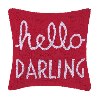 Hello Darling Square Hook Wool Throw Pillow