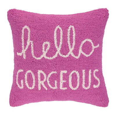 Hello Gorgeous Square Hook Wool Throw Pillow