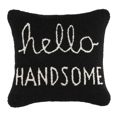 Hello Handsome Square Hook Wool Throw Pillow