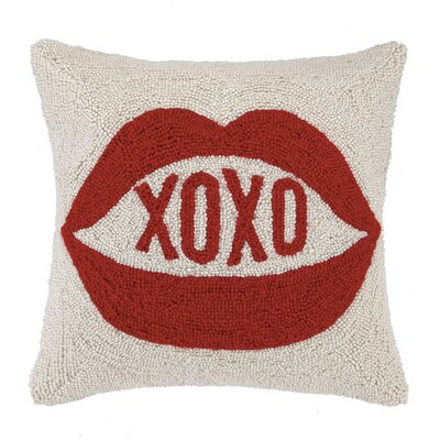 XOXO Square Hook Wool Throw Pillow