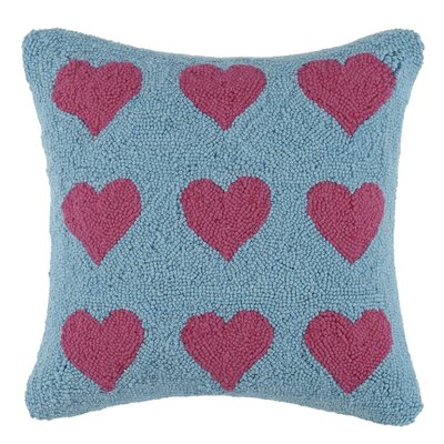 Many Hearts Square Hook Wool Throw Pillow Color: Pink / Blue