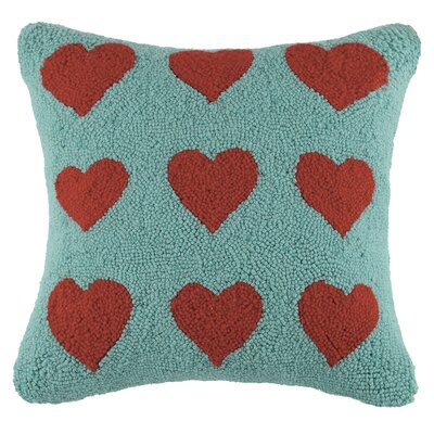 Many Hearts Square Hook Wool Throw Pillow Color: Red / Turquoise
