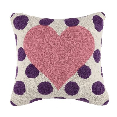 Square Hook Heart Wool Throw Pillow Color: Pink / Purple