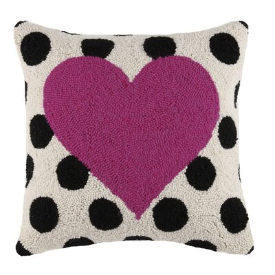 Square Hook Heart Wool Throw Pillow Color: Red / Black