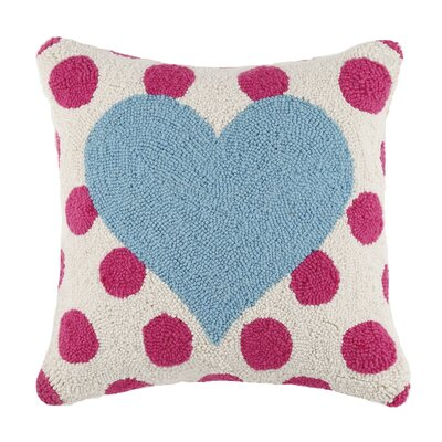 Square Hook Heart Wool Throw Pillow Color: Turquoise / Pink