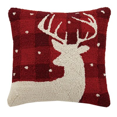 Plaid Deer Wool Throw Pillow