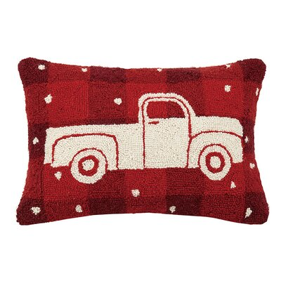 Plaid Truck Wool Lumbar Pillow