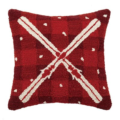 Plaid Ski Wool Throw Pillow