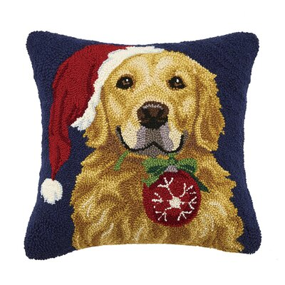 Retriever with Ornament Wool Throw Pillow
