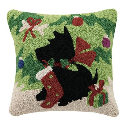 Scottie with Stocking Wool Throw Pillow
