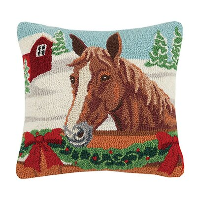 Holiday Horse Wool Throw Pillow