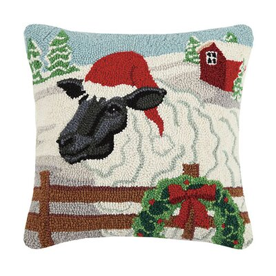 Sheep and Santa Hat Wool Throw Pillow
