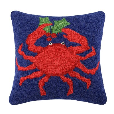 Crab Holding Mittens Wool Throw Pillow