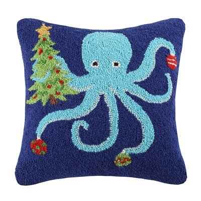 Octopus Holding Tree Wool Throw Pillow