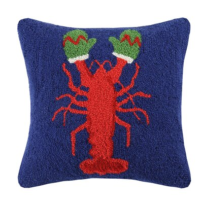 Lobster with Mittens Wool Throw Pillow