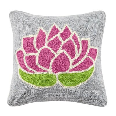 Lotus Flower Cotton Throw Pillow