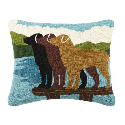 Labs on Lake Dock 100% Cotton Lumbar Pillow