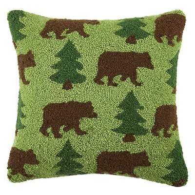 Bear and Tree Repeat 100% Cotton Throw Pillow