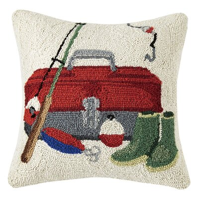 Tackle Box 100% Cotton Throw Pillow
