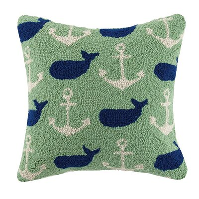 Whale Anchor Repeat 100% Cotton Throw Pillow
