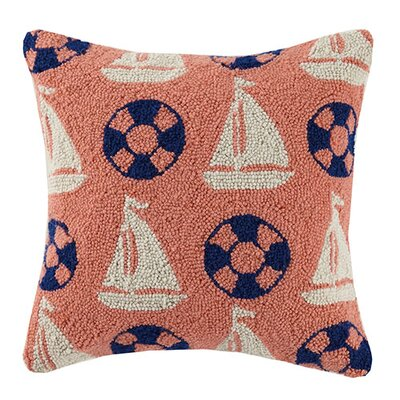 Sailboat Preserver Repeat Cotton Throw Pillow