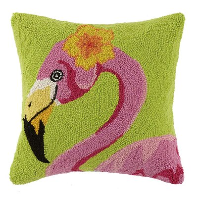 Hibiscus Flamingo 100% Cotton Throw Pillow