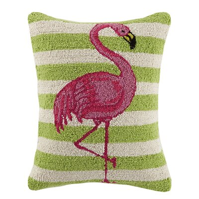 Stripe Flamingo 100% Cotton Lumbar Pillow