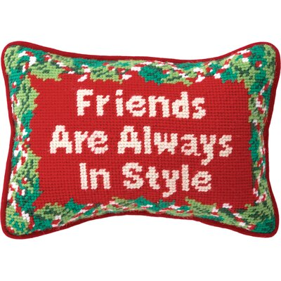 Needlepoint Friends Wool Throw Pillow