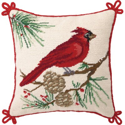 Needlepoit Cardinal Wool Throw Pillow