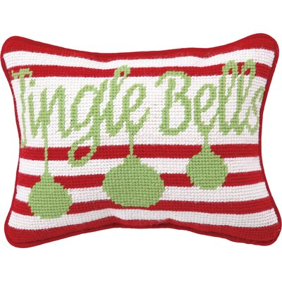 Needlepoint Jingle Bells Wool Throw Pillow (Set of 2)
