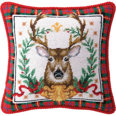 Needlepoint Christmas Stag Wool Throw Pillow