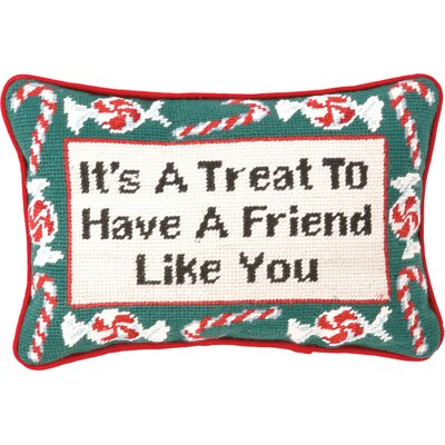 Needlepoint Its a Treat Wool Throw Pillow