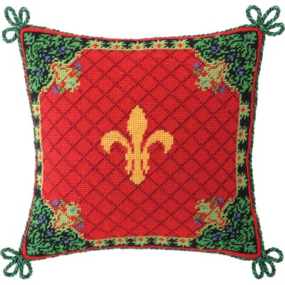 Needlepoint Christmas Stag Fleur De Lis Wool Throw Pillow